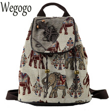 New Ethnic Embroidery Backpack Elephant Embroidered Canvas Shoulder Bag Travel Rucksack Schoolbag Women Mochila