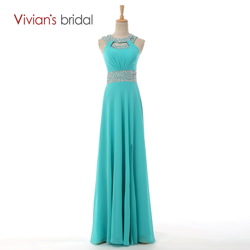 Vivian s Bridal Sexy Backless Beaded Long Evening Dress New Arrival Formal Chiffon Dresses Free Shipping