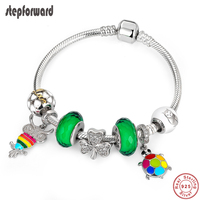 STEP FORWARD Hot Sale 925 Sterling Silver Colorful Owl Turtle Green Clover Pendant Bracelet & Bangle Fashion Jewelry Gift WLB008