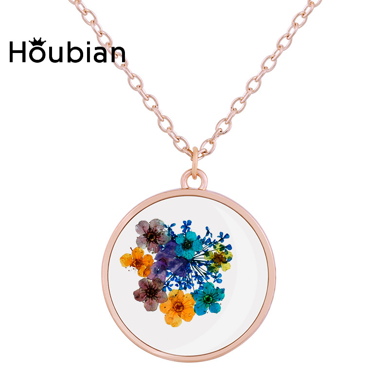 Houbian Natural Dried Flower Resin Necklace Jewelry Rose