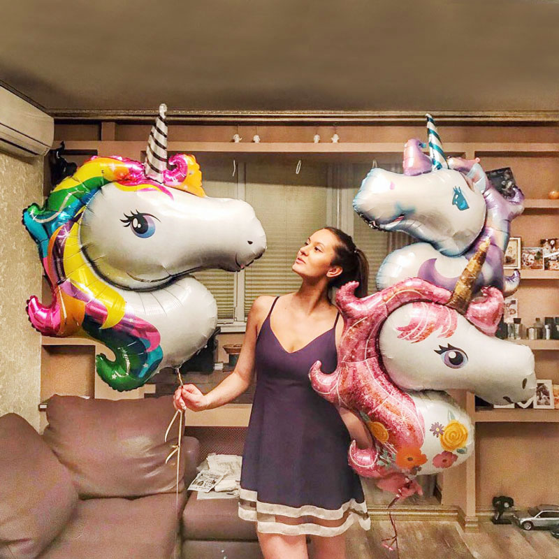 1Pc Giant Unicorn Balloons Inflatable Rainbow Animal Balloon Baby Shower Toy 3D Unicorn Birthday Party Decoration Kids Supplies