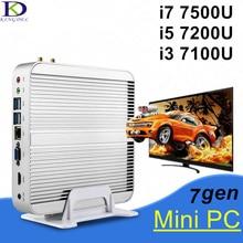 Безвентиляторный Micro PC Мини Неттоп Компьютер, 7-й Генерал i7-7500U, Dual Core, 4 К HTPC, Intel HD графика 620, HDMI + VGA + SD Карта Порта, Wi-Fi, Win 10
