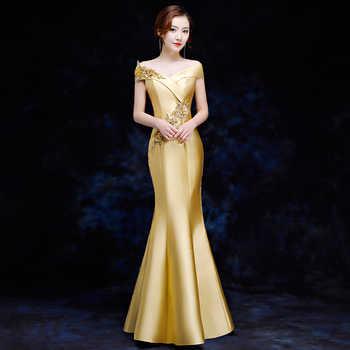 Elegant Women Mermaid Slim Qipao Sexy Off Shoulder Cheongsam Full Length Vestidos Female Evening Party Chinese Dress Size S-XXL - DISCOUNT ITEM  38% OFF All Category
