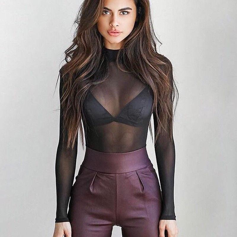 Women Sheer Mesh Fish Net Blouse Ladies Slim Long Sleeve Turtle Neck See-Through Mesh Top Hot Sale Black Pink Sexy Club Shirts