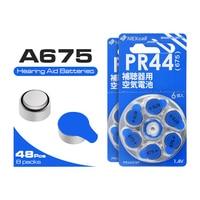 48Pcs ZA675 Battery Zinc Air 675A A675 PR44 For Hearing Aid Button Cell 1.4V