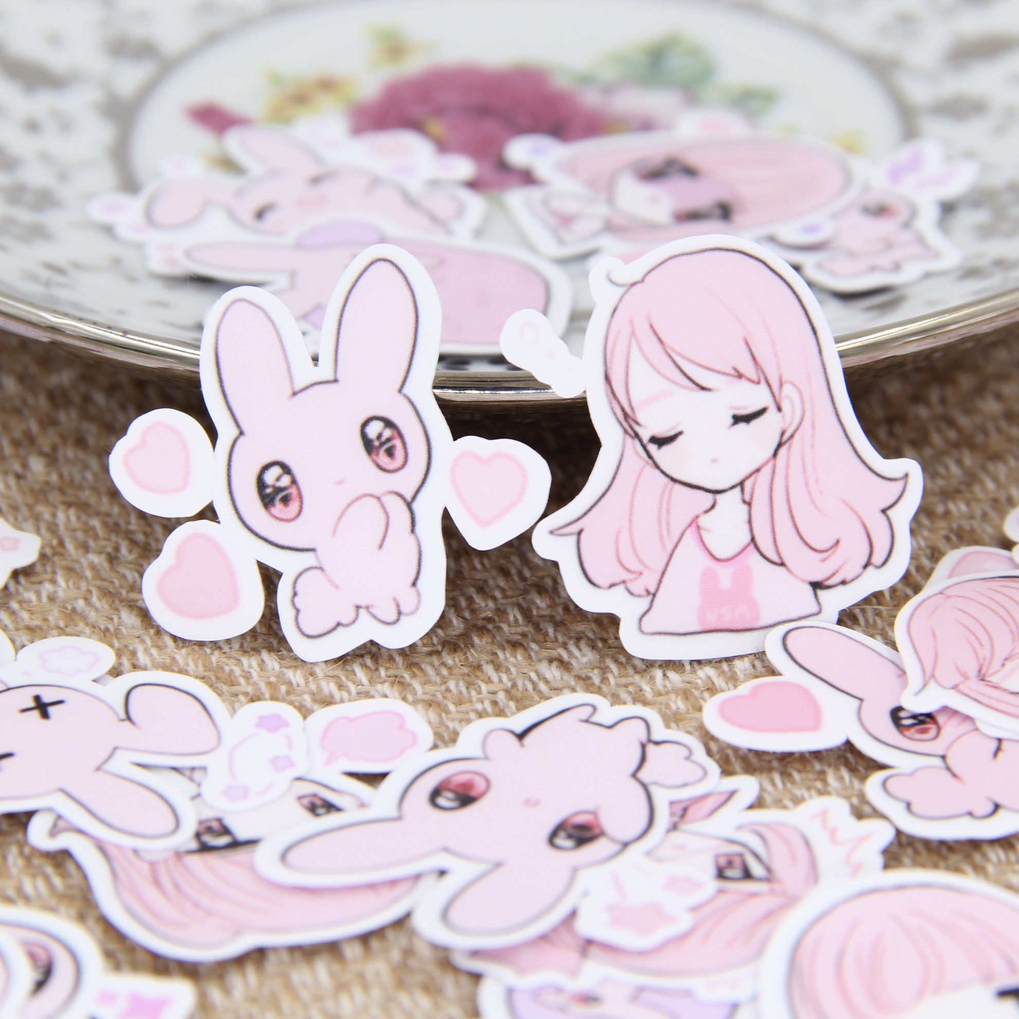 40pcs Cut Pink Girl Rabbit Bunny Girls Cartoon Scrapbooking Stickers DIY Craft Decrative Sticker Pack Albums Deco Diary Deco