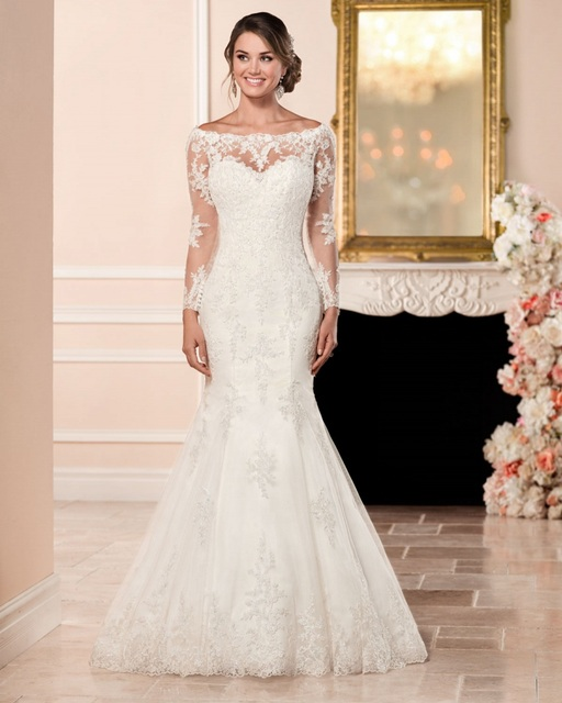 4405f36ed0c0 Vestido De Noiva Bridal Gown China Rustic Lace Long Sleeve Mermaid Wedding  Dress Vintage Simple Sexy Women Wedding Dress 2017