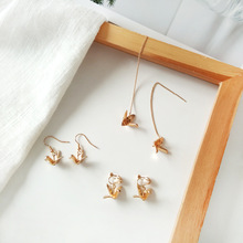Stylish Metal Three-dimensional Paper Crane Short Pendant Earrings Cute Gold-color Bird Dangle for Women
