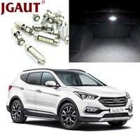 JGAUT For 2007 2012 Hyundai Santa Fe White Car LED Light Bulbs Interior Package Kit Map
