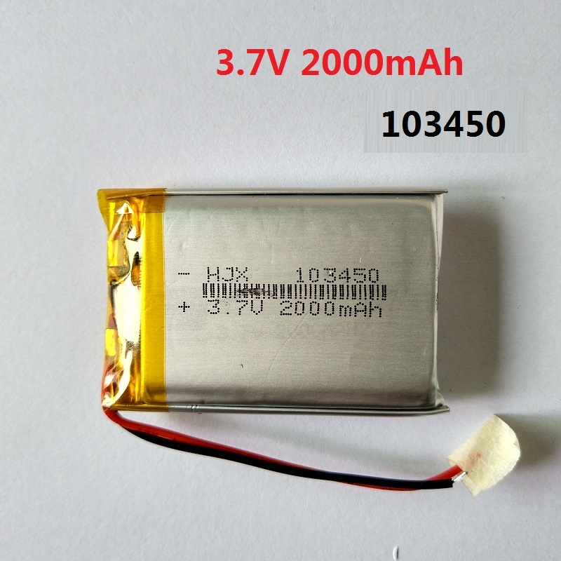 3.7V 2000mAH 103450 Battery Lithium Chargeable Batteries High Quality for GPS MP4 Cell Phone Speaker DVR A-CLASS MP3 Toy