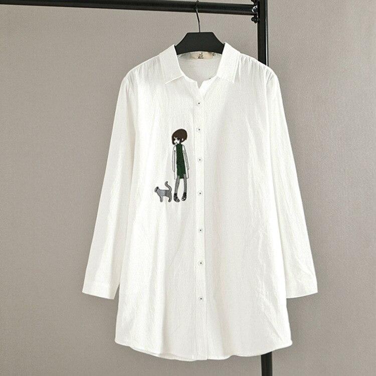 Carácter de La Muchacha Bordado Blusa de Las Mujeres Camisa Más del Tamaño 3XL C