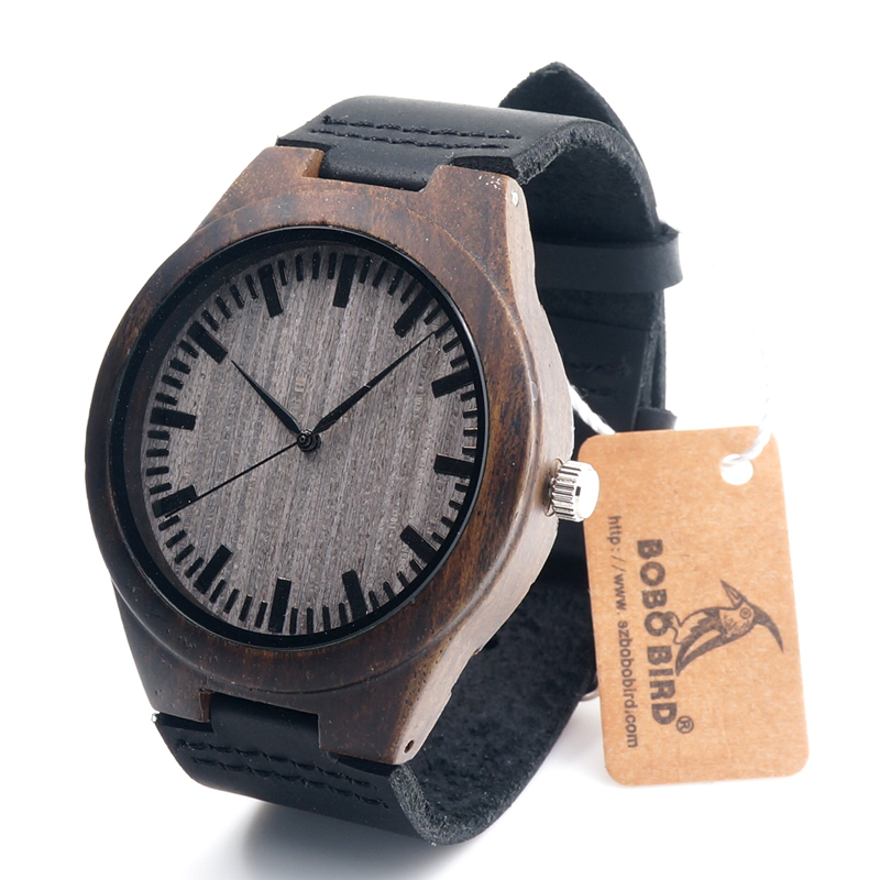 BOBO BIRD V-F08 Mens Ebony Wood Watch Japan Movement 2035 Quartz Wristwatch with Leather Strap in Gift Box Free Shipping 2016 natural bamboo wood wristwatch japan quartz movement 2035 army nylon fabric strap new fashion wood watch with nylon band