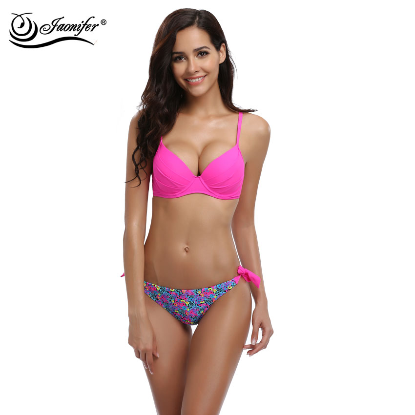 JAONIFER Femmes Imprimer Bikini 2017 Sexy Micro Faible Taille Bikinis Push up Maillot de Bain Maillots De Bain De Natation Maillots de Bain Bikinis Brésiliens