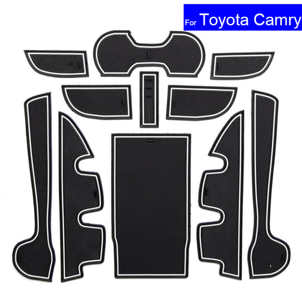 11Pcs Non slip Car Door Gate Slot Mats Carpets Position Cup Holder Pads For Toyota Camry 2012 2013 2014 2015 2016 7 Generation|pad pad - title=