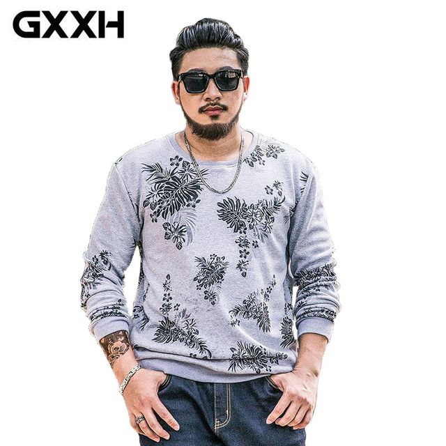 GXXH Plus Large Size hip hop hoodies sweatshirt men clothing brand  mens Big Tall Oversized Leaves printing sweatshirt Male 7XL