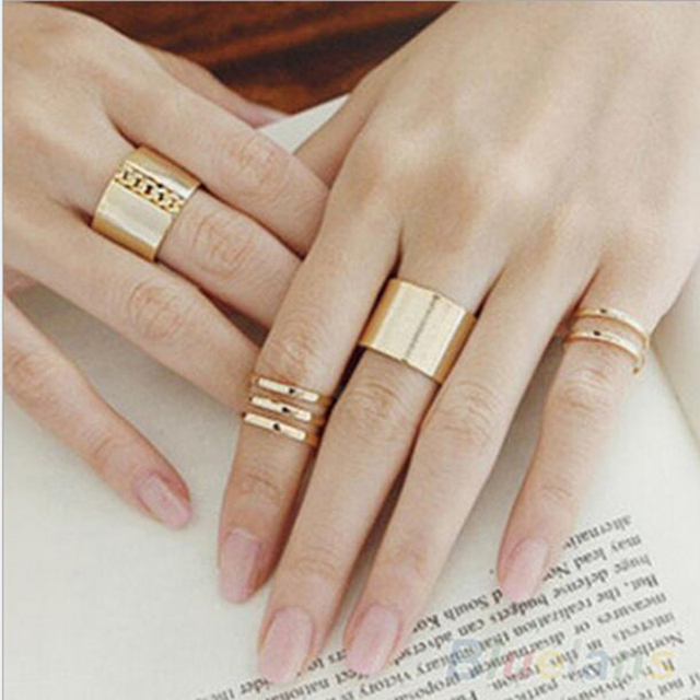 1 Set/3 Pcs Punk Gold Silver Rings