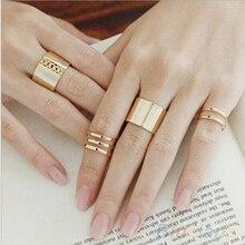 1 Set/3 piezas oro Anillos de plata mujer Anillos pila simple banda Midi medio dedo nudillo Anillos, conjunto para las mujeres Anel Rock joyería