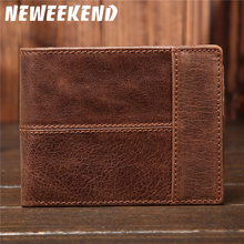 Free Shipping Vintage Style Men's Bifold soft Genuine Leather long Billfold Wallet Card Holder Purse ID Credit Card Holder.8064 недорго, оригинальная цена