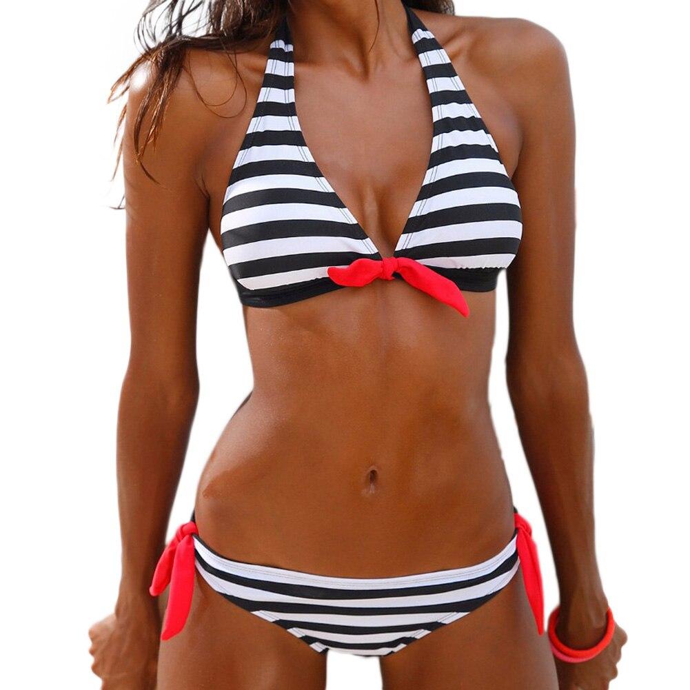 Push Up Bikini Ladies Swimwear Female Swimsuit Women 2018 Brazilian Bikini Set Striped Bandage Beach Wear Vintage Bathing Suit lady bikini set swimwear women bandage brazilian swimsuit push up bathing suits print biquini female beach wear bk1834