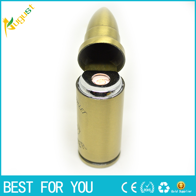 5pcs/lot Fashionable Lighter Bullet Shaped Shell Metal charge Bronze Cigar usb electric Cigarette Kitchen lighters pipe tabacco