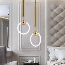 ใหม่ที่เรียบง่ายจี้แฟชั่นโมเดิร์นสีขาวโคมไฟสำหรับห้องรับประทานอาหารห้องนอนห้องนั่งเล่นบาร์รอบ