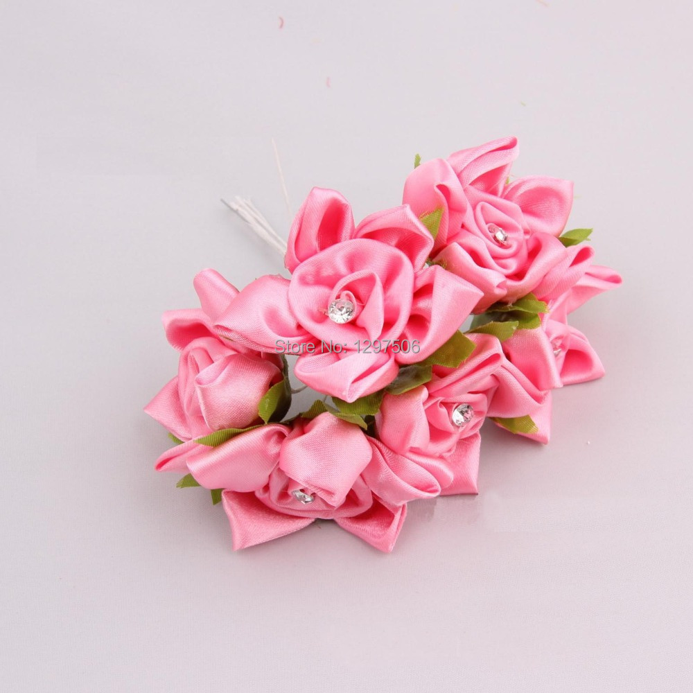 hand made fabric flower artificial satin ribbon roses,diy craft bridal bouquet,home decor arrangements,decoration for party,hair