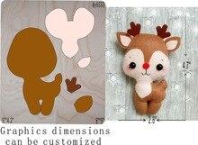 Deer 3die عيد الميلاد قطع الملحقات الخشبية يموت ريجولا اتشيايو يموت ميسورا ، بلدي