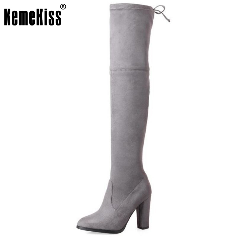 KemeKiss Women Genuine Leather Elastic Over Knee Boots High Heel Boots Warm Shoes In Winter Long Botas Women Footwear Size 34-39 kemekiss women genuine leather elastic over knee boots high heel boots warm shoes in winter long botas women footwear size 34 39