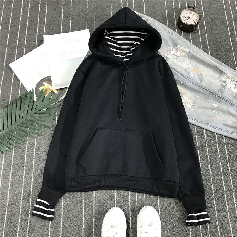 HTB1om JXO6guuRjy1Xdq6yAwpXat - Neploe Harajuku Hooded Sweatshirts Long Sleeve Stripe Patch Hoodies 2019 Winter Fleece Causal Pullover Female Tops 36224