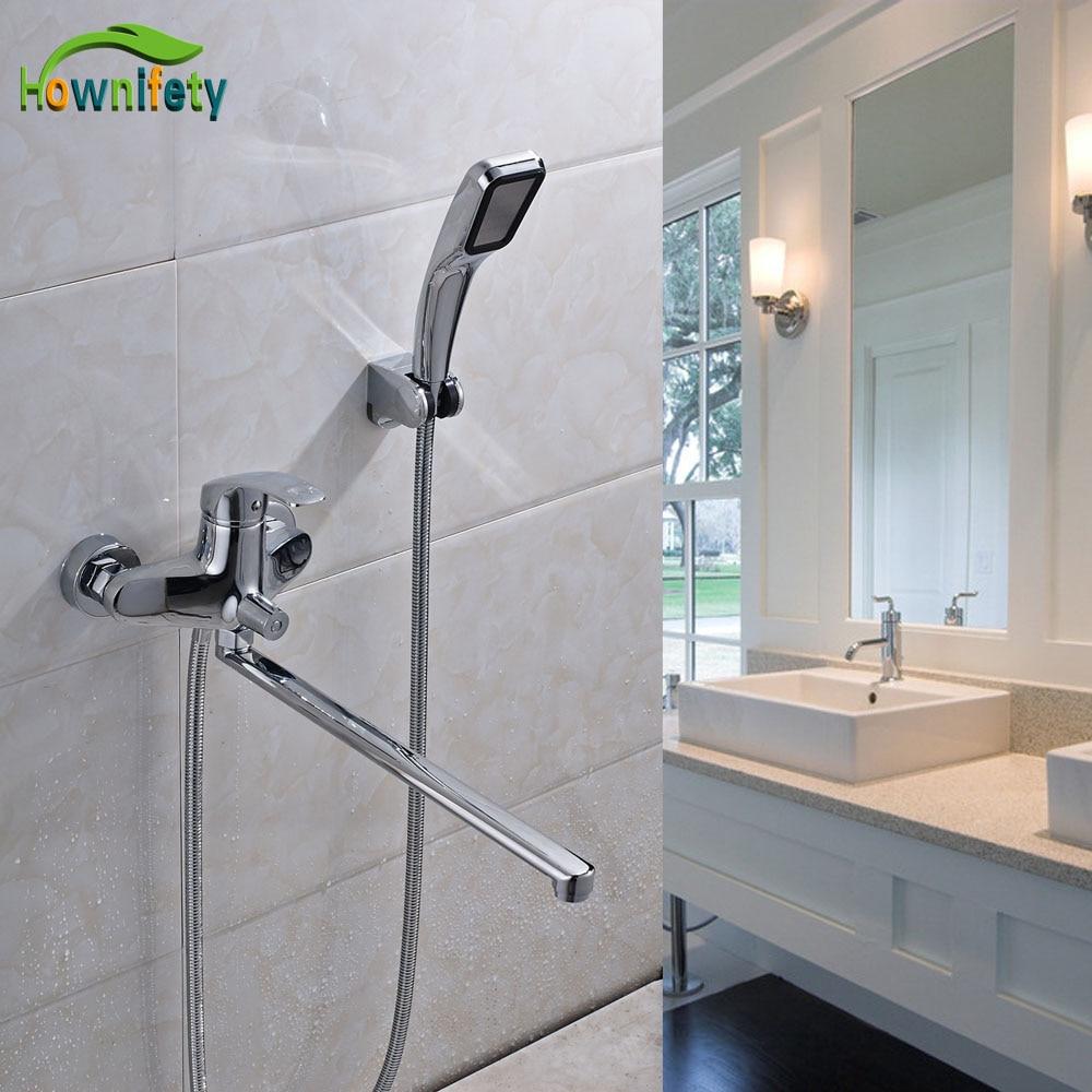 Chrome Finish Bathroom Shower Faucet Sets Solid Brass Single Handle Bathtub Mixer Tap With Long Filler Spout Faucet