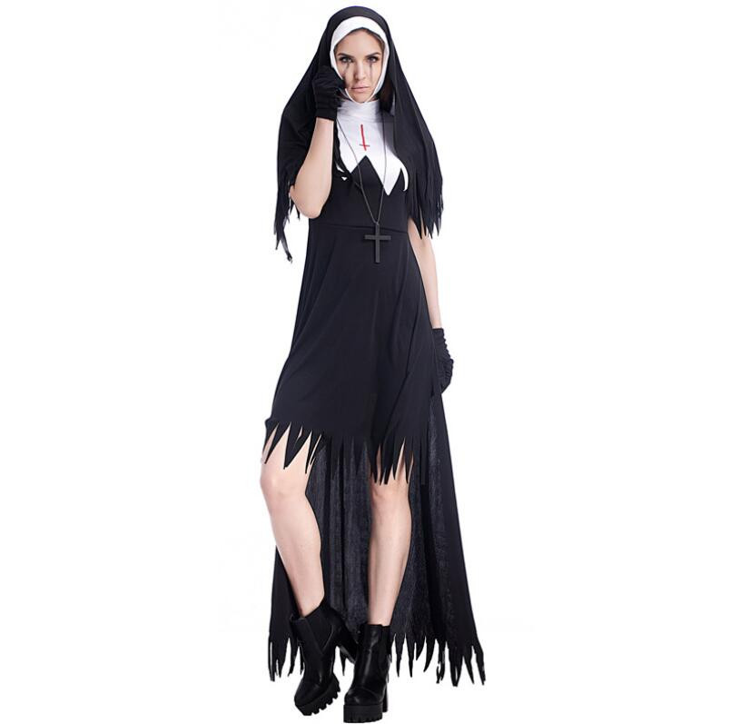 Sexy Nun Costume Adult Women Cosplay With Black Hoodie For Halloween Sister Cosplay Party Vampire demon Costume