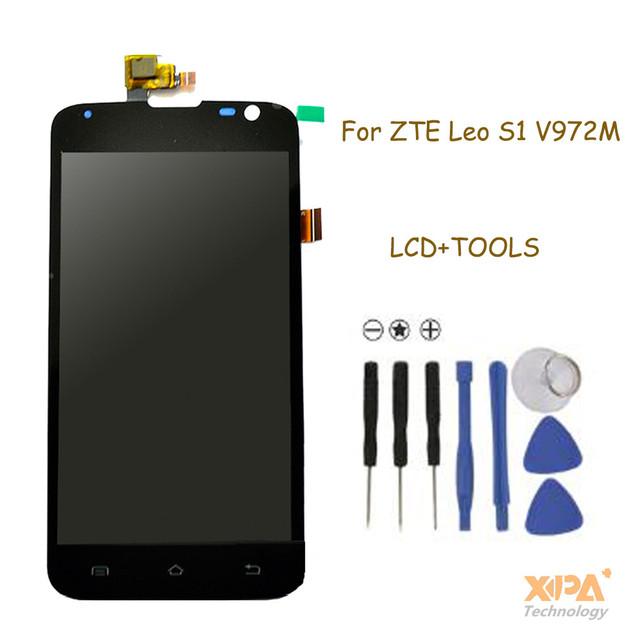 Para zte v972 display lcd com tela de toque digitador assembléia para zte leo s1 v972m peças de reposição frete grátis + ferramentas