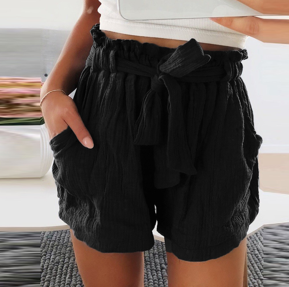 Womail Women   shorts   summer Pure Color High Waist Bandage Easy Elastic Casual   Short   Skinny Sport Daily denim color dropship j23