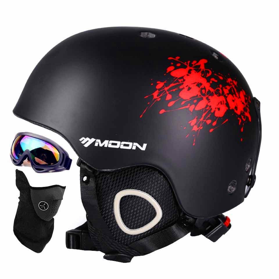 ФОТО Moon skiing helmet autumn and winter adult male ladies monoboard skiing flanchard equipment Snow Sports saftly Helmets