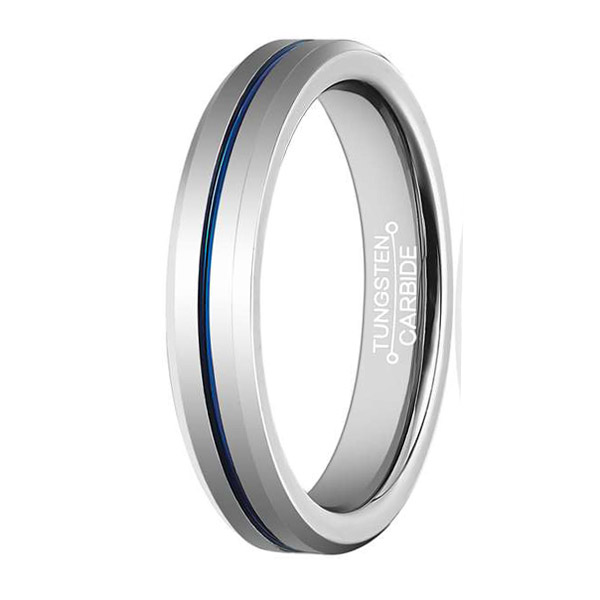 Fashion Mens Womens Wedding Band Tungsten Carbide Ring 4mm High Polished Blue Line