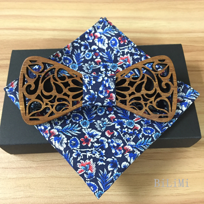 Romantic Hollow Wood Bow ties Bowtie with handkerchief For Men Wooden bow tie for Christmas gift send with free shipping