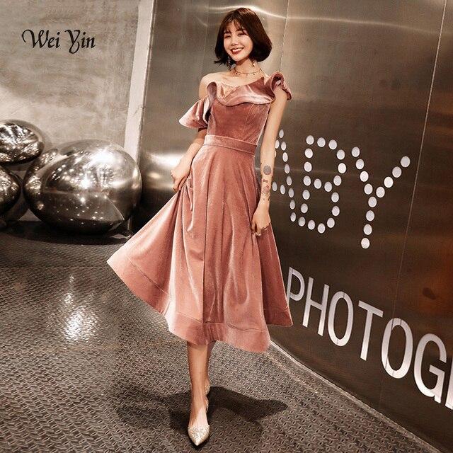 Weiyin 2020 新着セクシーなワンショルダーベルベットイブニングドレスショートフィットフォーマルパーティードレス夜会 WY1379