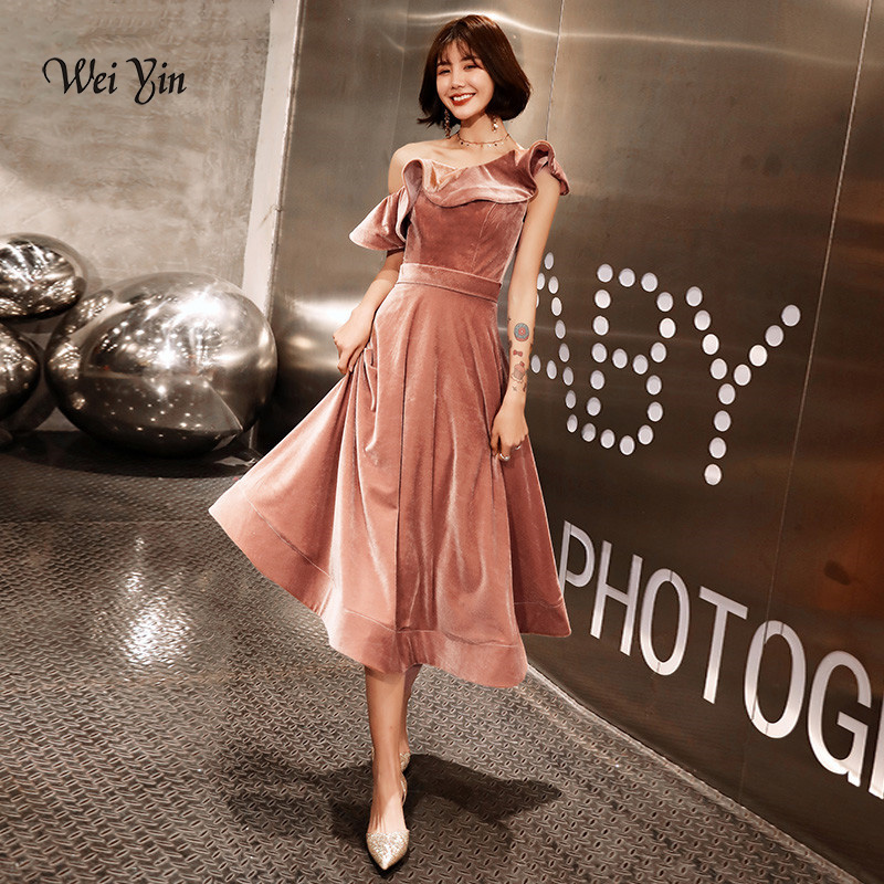 Weddings & Events Weiyin 2019 New Short Cocktail Dresses Black Long Sleeved High-neck Tea-length Velour Formal Gown Robe De Soiree Wy1494