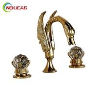 Luxury Two Crystal Handle Bathroom Sink Basin Mixer Faucet Golden Swan Basin Faucet Deck Mount 3