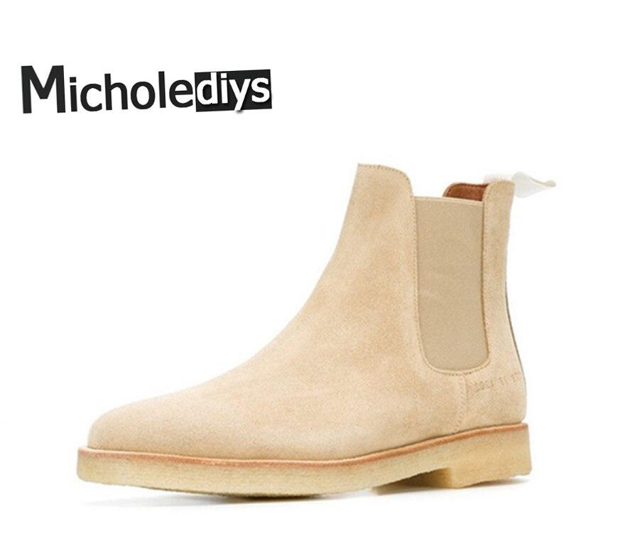 все цены на Micholediys New arrival Handmade Classic All-match Chelsea Nubuck Leather Sneaker Boots Mens Crepe Boots Mens Kanye west Shoes