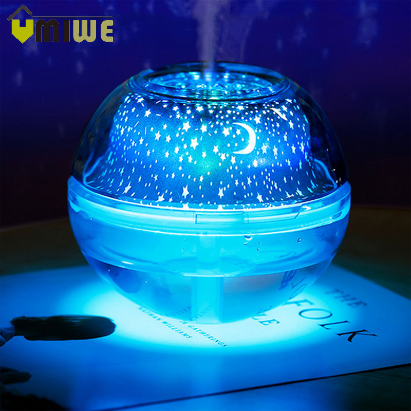USB Mist Humidifier Star/Moon Projection LED Night Lamp Light Aroma Diffuser Air Humidifier for Home Office Room Desktop 500ml