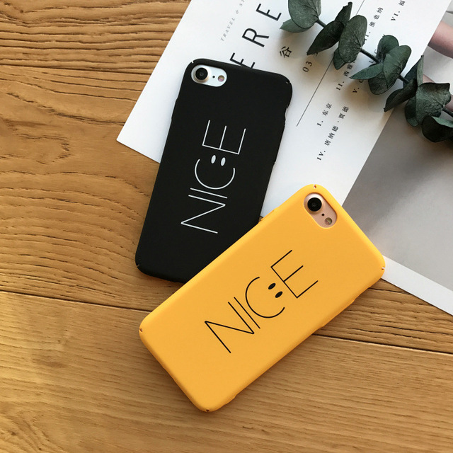 low priced 27cc8 89237 US $4.9 |SZYHOME Phone Cases For iPhone 6 6s 7 Plus Case Yellow Black NICE  Letter Plastic For Apple iPhone 7 Plus Mobile Phone Cover Case-in Fitted ...