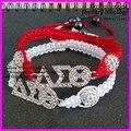 10pcs/lot  Very nice handcrafted braiding red white bracelet rhinestone delta sigma theta sorority charm macrame bracelet