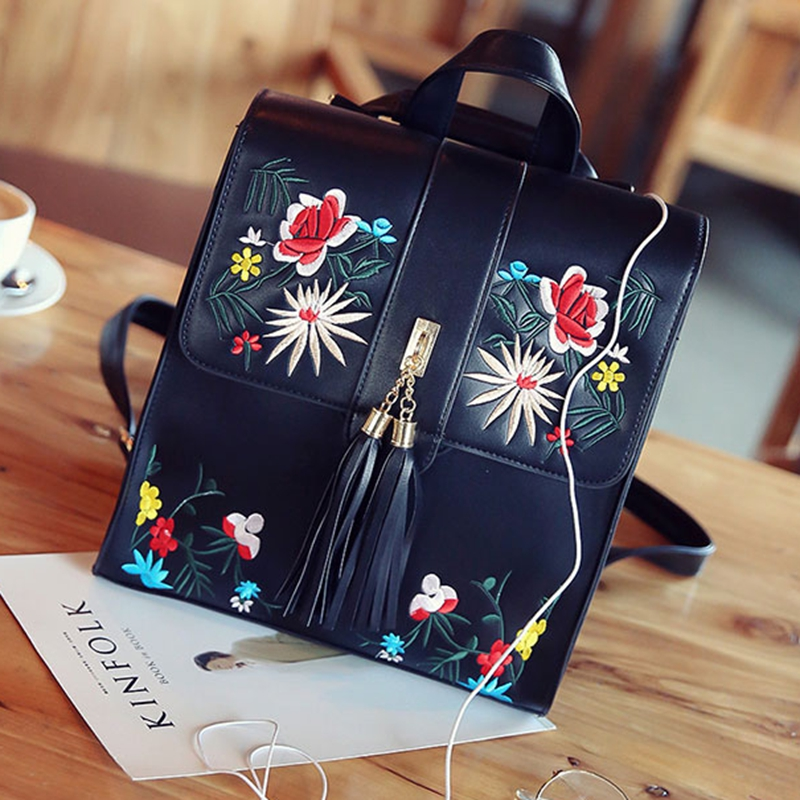 High Quality PU Bagpack Women Embroidery Backpack School Bags For Teenagers Rugzak Casual Trave Backpacks Women