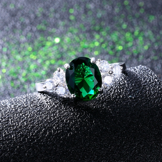 Women's Rings 925 Sterling Silver Jewelry Ring With Oval Cut AAAAA Royal Blue Red Emerald Green Olive Zircon Ring Wedding Gifts 5
