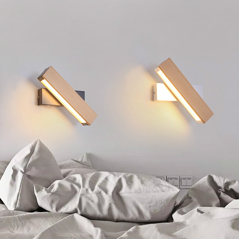Modern Nordic Solid Wood LED Rotated Wall Lamp Bedside Night Light Bedroom Living Room Sconce Light Fixture Wall Decor IY1217845 modern nordic solid wood led rotated wall lamp bedside night light bedroom living room aisle sconce light fixture wall decor art