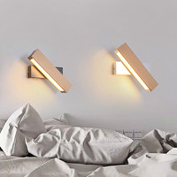 Modern Nordic Solid Wood LED Rotated Wall Lamp Bedside Night Light Bedroom Living Room Sconce Light Fixture Wall Decor IY1217845