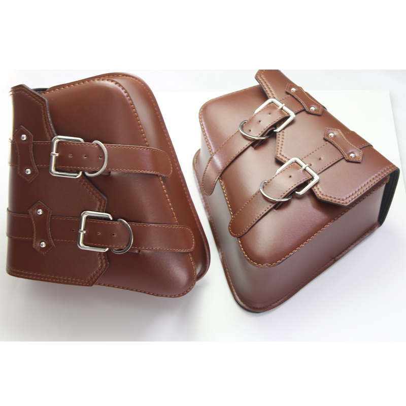 1 Pair Brown Motorcycle PU Leather Side Bag Saddle Bags Tool Bags Pouch For Harley Sportster XL883 XL1200