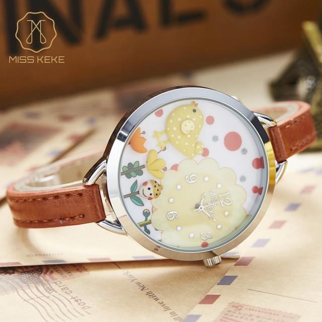 Miss Keke 3D Clay Bird Cartoon Watches Young Girls Kids Quartz Watches Clock Bracelet Casual Dress Leather Wrist Watches 821