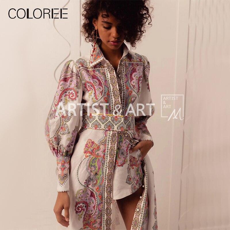 2019 summer runway designer long dress bohemian printed floral elegant slit dress boho style dress+shorts